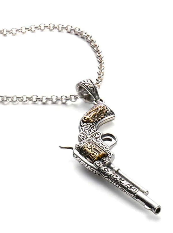 Engraved Revolver Necklace by Silver Phantom Jewelry