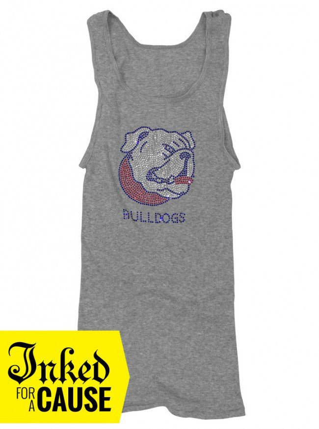 "Unisex ""Red White and Blue American Sparkling Rhinestone Bullie"" Tank by American Bulldog Rescue (Heather Grey) - www.inkedshop.com"