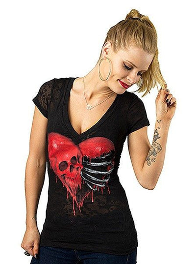"Women's ""Ribcage Heart Skull"" Burnout Tee by Lethal Angel (Black) - www.inkedshop.com"