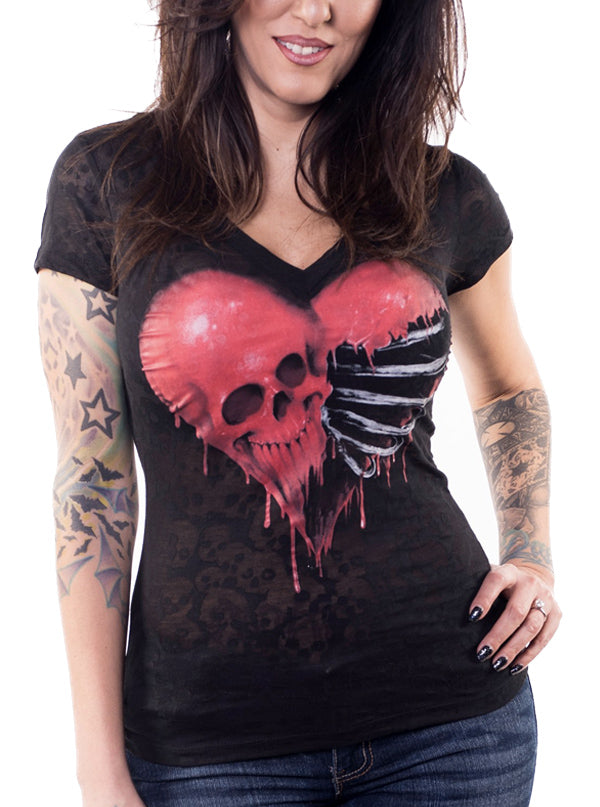 "Women's ""Ribcage Heart Skull"" Burnout Tee by Lethal Angel (Black)"