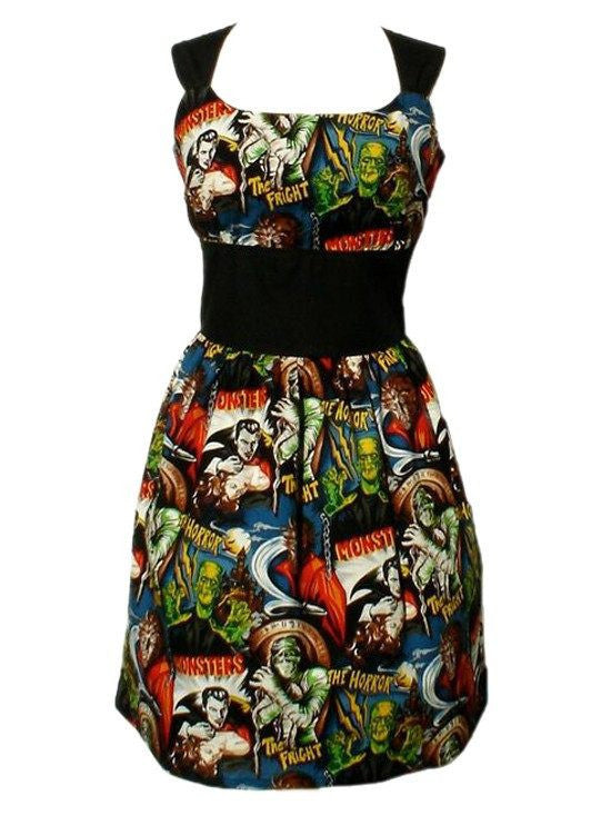 "Women's ""Riding Shotgun Hollywood Monsters"" Pin-up Dress by Hemet - InkedShop - 1"