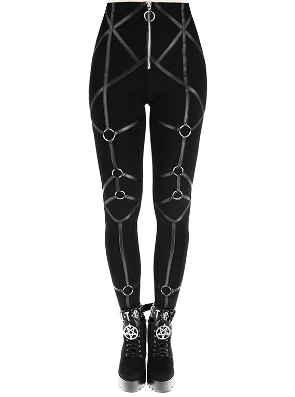 "Women's ""Rings"" Leggings by Restyle (Black)"