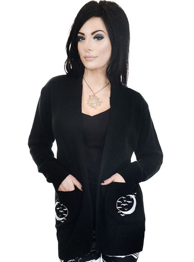 Women's Hand In The Moon Long Cardigan by Too Fast