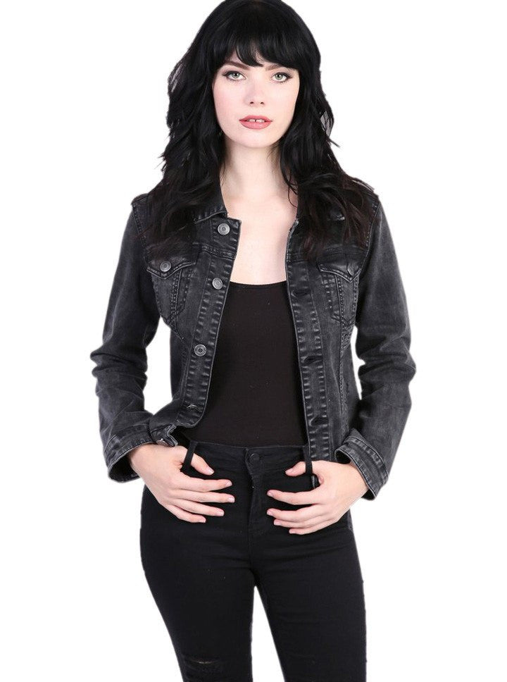 Women S Rock N Roll Denim Jacket By Pretty Attitude Clothing Black