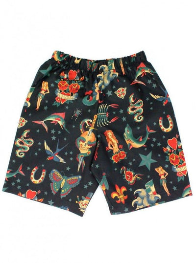 "Boys ""Rockabilly Tattoo"" Shorts by Hemet (Black) - www.inkedshop.com"