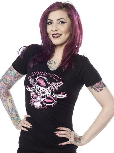 "Women's ""Rockin Bones"" Tee by Sourpuss (Black)"