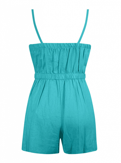"Women's ""Retro Pinup"" Romper by Double Trouble Apparel (Turquoise) - www.inkedshop.com"