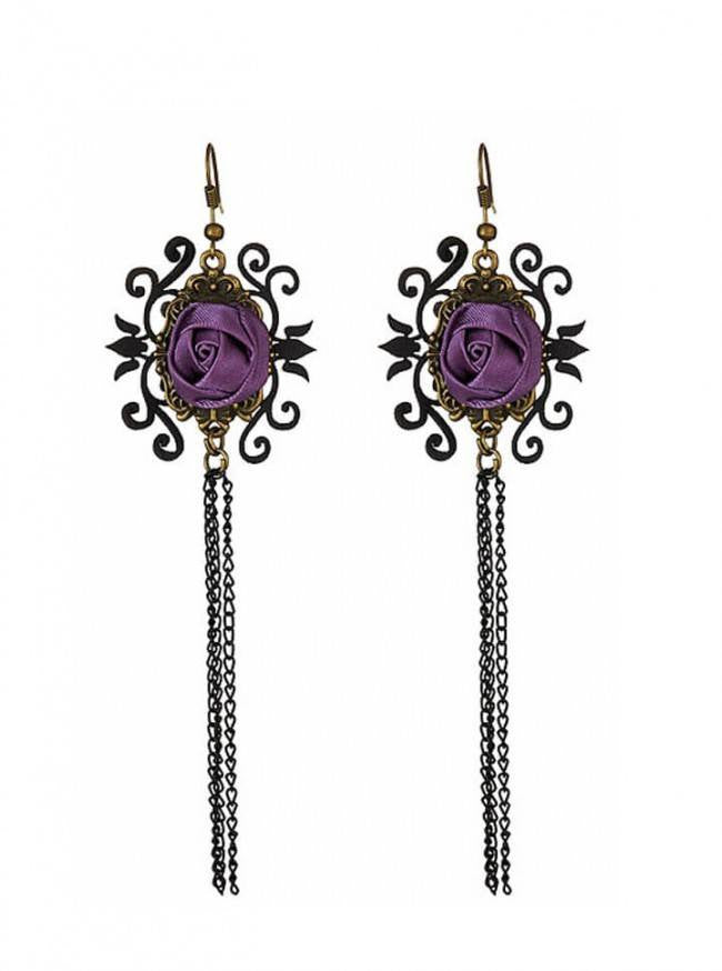 """Rose"" Earrings by Pretty Attitude Clothing (Purple) - www.inkedshop.com"
