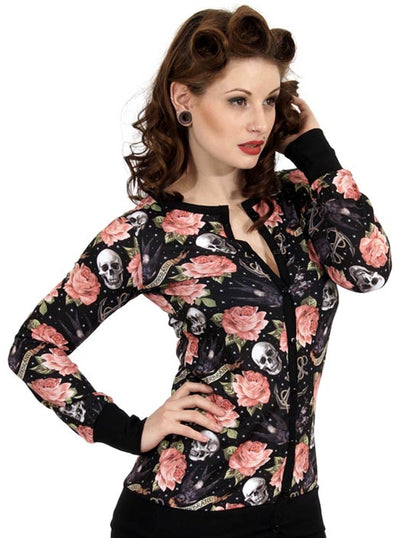 "Women's ""Rose Tattoo"" Cardigan by Liquorbrand (Black)"