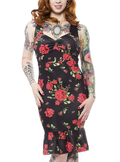 Women's Rose Garden Wiggle Dress by Sourpuss