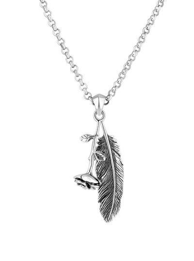 Rose & Feather Necklace by Silver Phantom Jewelry