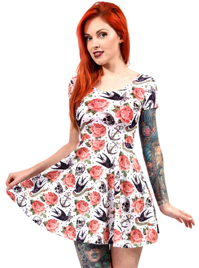 Women's Rose Tattoo Skater Dress by Liquorbrand