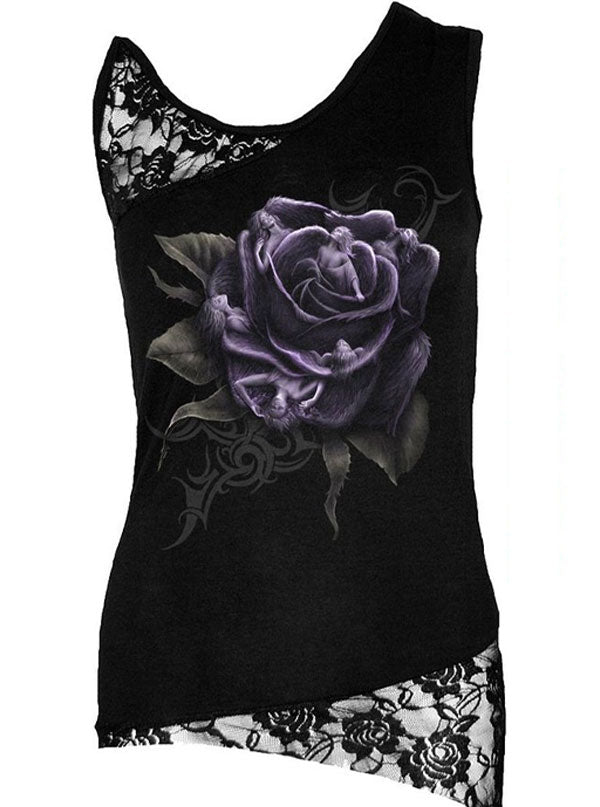 "Women's ""Rose Angels"" Lace Top by Spiral USA (Black)"