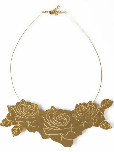 """Rose Cluster"" Necklace by Samii Ryan Jewelry (Gold) - www.inkedshop.com"