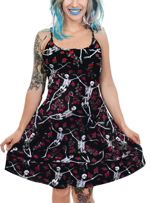 "Women's ""Bed of Roses"" Skater Dress by Too Fast (Black)"