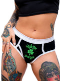 "Women's ""Rub Me For Good Luck"" Boy Brief Underwear by Dirty Shirty (Black)"