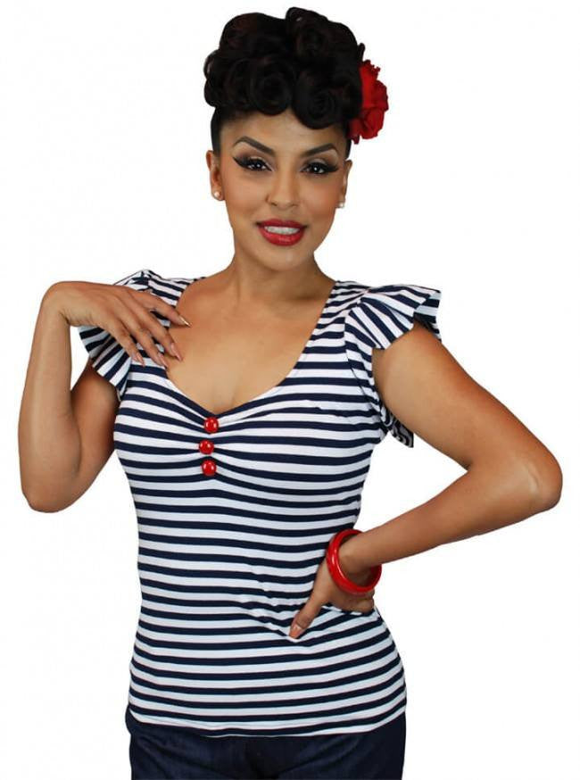 "Women's ""Ruffle"" Top by Pinky Pinups (Navy/White) - www.inkedshop.com"