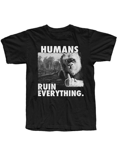 "Men's ""Humans Ruin Everything"" Tee by The T-Shirt Whore (Black) - www.inkedshop.com"