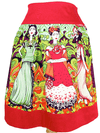 "Women's ""Frida Kahlo and Catrinas"" Skirt by Hemet (Red) - www.inkedshop.com"