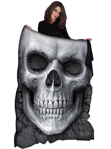 """Solemn Skull"" Fleece Blanket by Spiral USA (Black) - www.inkedshop.com"