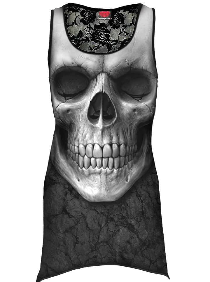 "Women's ""Solemn Skull"" Allover Goth Bottom Lace Top by Spiral USA (Black) - www.inkedshop.com"
