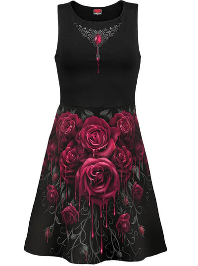 "Women's ""Blood Rose"" Mesh Layered Midi Skater Dress by Spiral USA (Black) - www.inkedshop.com"