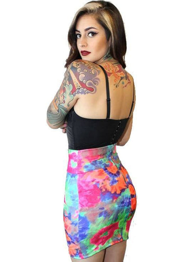 "Women's ""Mila"" Waist Slimming Skirt by Demi Loon (Tie Dye) - www.inkedshop.com"