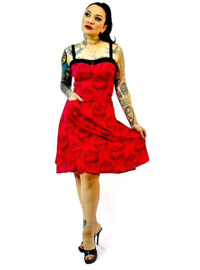 "Women's ""Sacred Heart"" Swing Dress by Switchblade Stiletto (Red)"