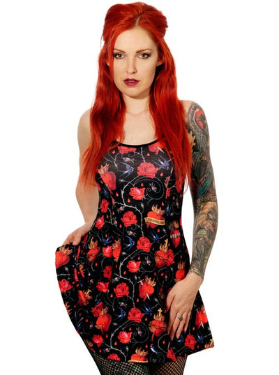 "Women's ""Sacred Hearts"" Dress by Liquorbrand (Black)"
