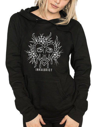 "Women's ""Sad Face"" Hoodie by InkAddict (More Options)"
