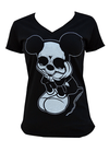 "Women's ""Sad Mouse"" V-Neck Tee By Black Market Art (Black) - InkedShop - 2"