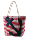 "Women's ""Sailor Striped Anchor"" Tote Bag by Double Trouble Apparel (Navy) - www.inkedshop.com"