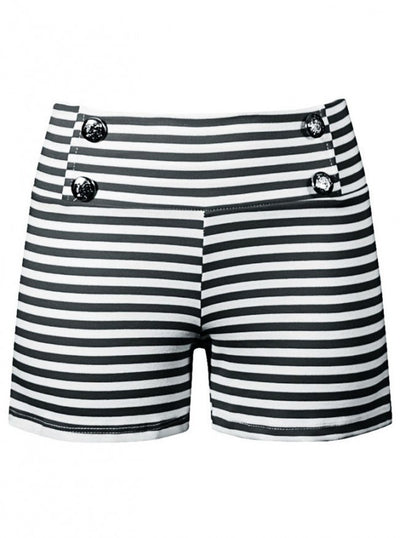 "Women's ""Sailor Girl"" Striped Shorts by Double Trouble Apparel (Black) - www.inkedshop.com"