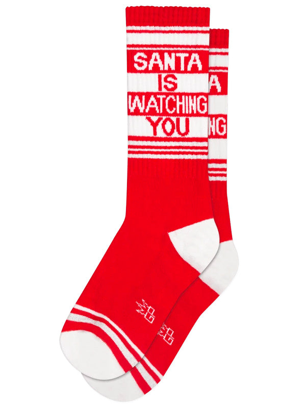 Unisex Santa Is Watching You Ribbed Gym Socks