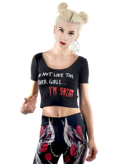 "Women's ""I'm Satan"" Crop Top by Rat Baby (Black)"