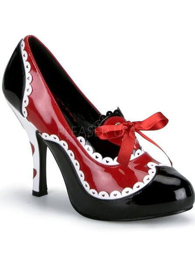 "Women's ""Queen of Hearts"" Heels by Funtasma (Black/Red) - www.inkedshop.com"