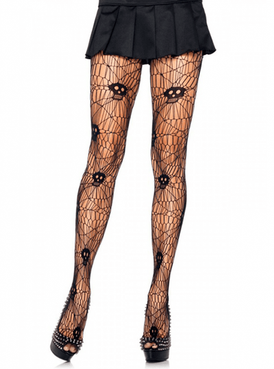 "Women's ""Scary Skull Web"" Tights by Leg Avenue (Black) - www.inkedshop.com"
