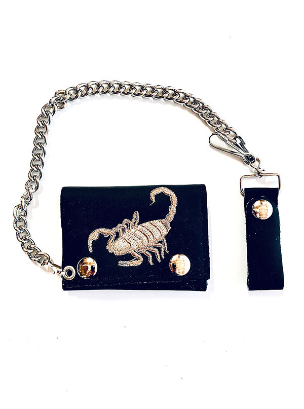 Scorpion Embroidered Tri-Fold Chain Wallet by Gypsy Treasures