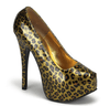 "Gold Glitter Cheetah 5 3/4"" Heel by Bordello - InkedShop - 1"