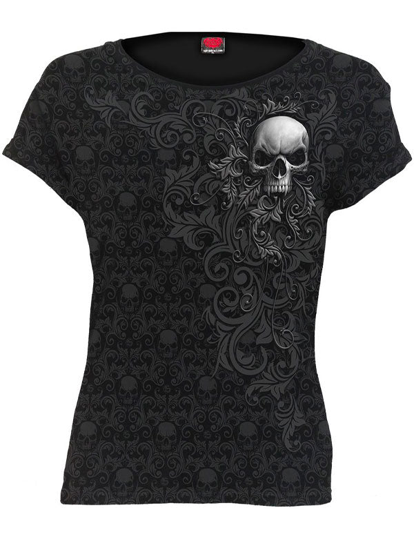 Women's Skull Scroll Impression Cap Sleeve Tee by Spiral USA