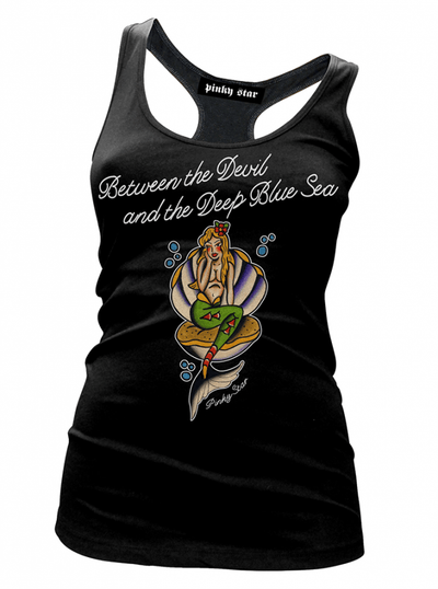 "Women's ""Deep Blue Sea"" Tank by Pinky Star (Black) - www.inkedshop.com"