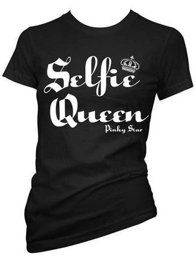 "Women's ""Selfie Queen"" Tee by Pinky Star (Black) - www.inkedshop.com"