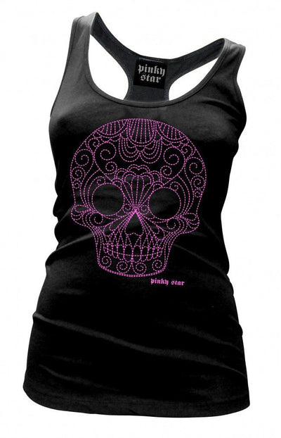 "Women's ""Quilted Pinstriped Skull"" Tank by Pinky Star (Black/Pink) - InkedShop - 1"