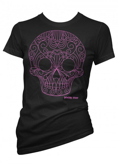 "Women's ""Quilted Pinstriped Pink Skull"" Tee by Pinky Star (Black) - InkedShop - 1"