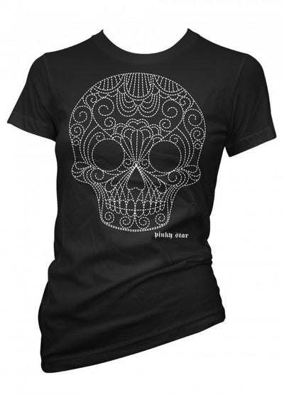 "Women's ""Quilted Pinstriped White Skull"" Tee by Pinky Star (Black) - InkedShop - 1"