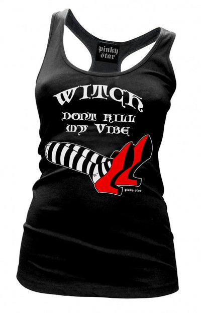 "Women's ""Witch Don't Kill My Vibe"" Tank by Pinky Star (Black) - InkedShop - 1"