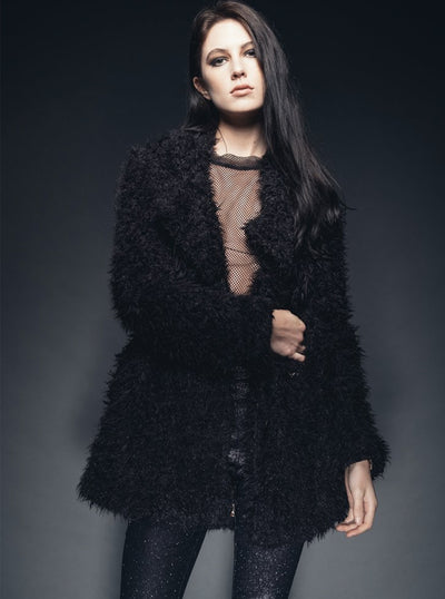 "Women's ""Midnighter"" Faux Fur Shaggy Jacket by Pretty Attitude Clothing (Black)"