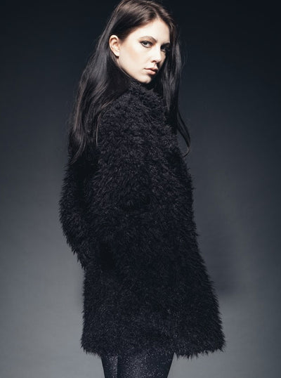 Women's Midnighter Faux Fur Shaggy Jacket by Pretty Attitude Clothing