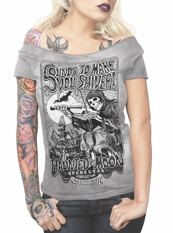 Women's Sounds To Make You Shiver Off The Shoulder Tee by Serpentine Clothing