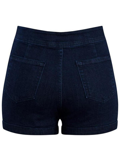 Women's Sailor Girl High Waist Dark Denim Shorts by Double Trouble Apparel (Dark Blue)